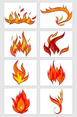 卡通红色火焰矢量素材