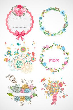 母亲节清新花卉边框素材